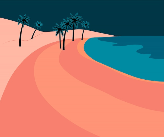 Pink romantic beach with palm leaves and blue sea at dawn