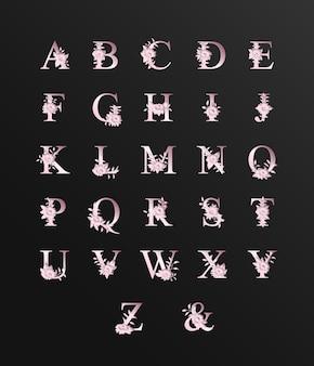 Розовый романтический красивый алфавит для свадьбы с цветочным