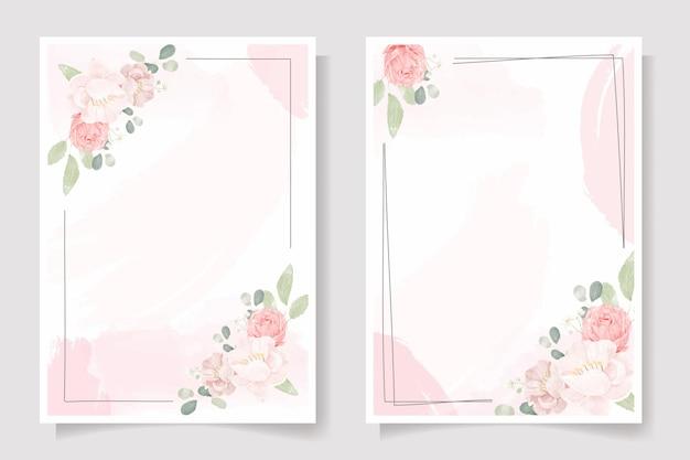 Букет розовых роз и пионов на розовом акварельном всплеске свадебного приглашения