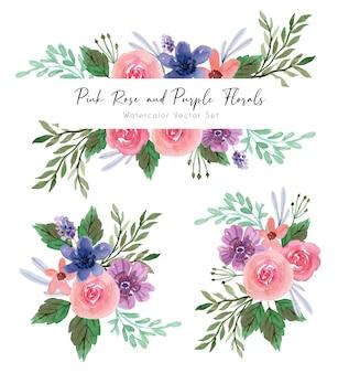 ピンクのバラと紫の花柄の水彩セット