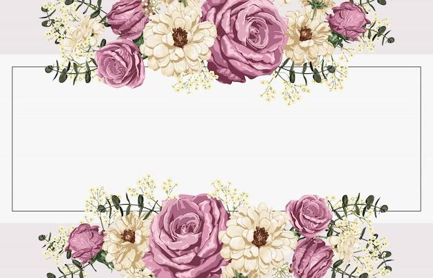 ピンクのバラと白のヒナギクの背景デザイン。