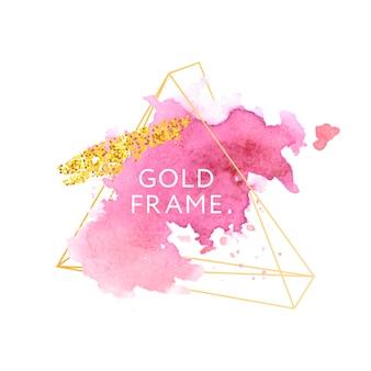 ピンク、ローズ、ブラシストローク、ゴールドフレーム。