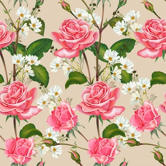 Pink rose and cosmos flower seamless pattern on white
