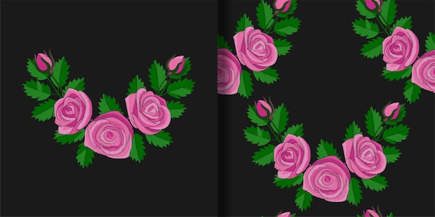 ピンクのバラの刺繡プリントとシームレスなパターンセットテキスタイルとtシャツのプリントの壁紙