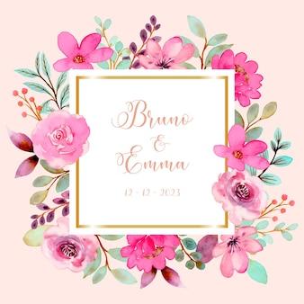 수채화와 핑크 장미 꽃 프레임