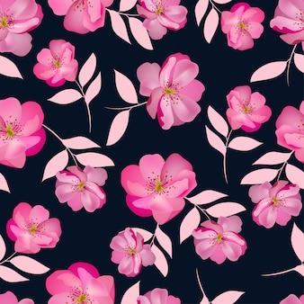 Pink rose flower seamless pattern