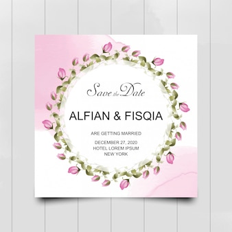 Pink rose flower wedding invitation card with watercolor style