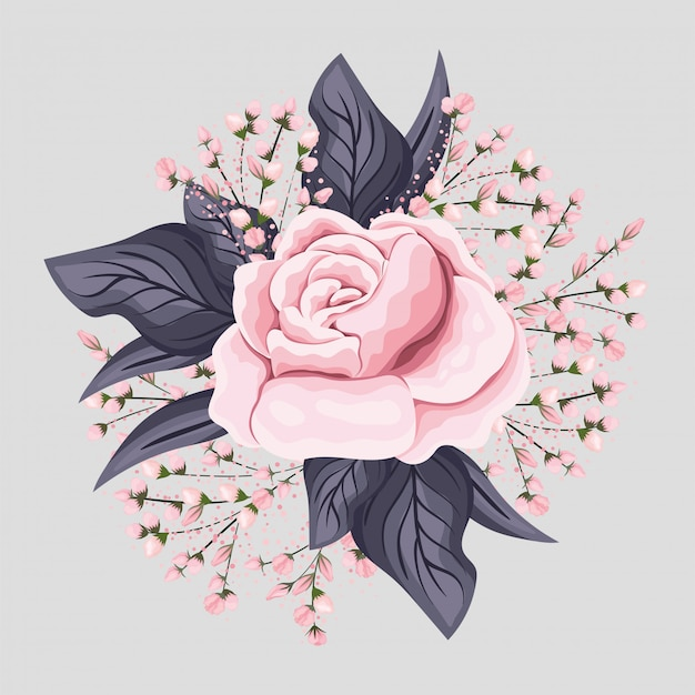 Pink rose flower with leaves painting design, natural floral nature plant ornament garden decoration and botany theme illustration
