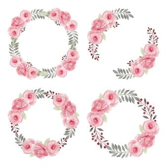 Розовая роза венок акварельная коллекция