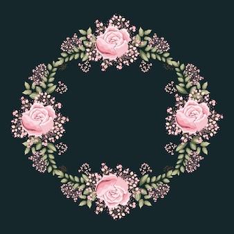 Рамка для рисования с розовыми розами и листьями