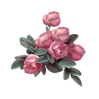 Pink rose flowers arrangement illustration