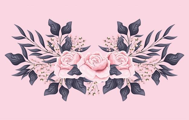Розовые розы цветы с листьями, живопись дизайн, естественная цветочная природа, растительный орнамент, украшение сада и иллюстрация темы ботаники