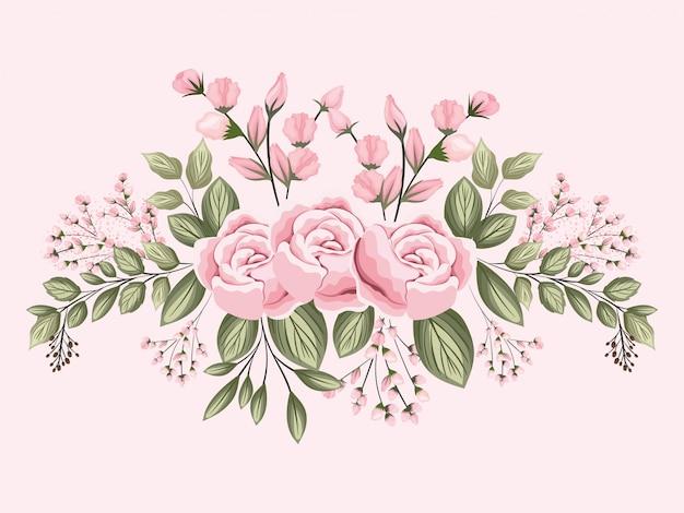 Розовые розы цветы с листьями живопись дизайн, натуральный цветочный природа растение орнамент украшение сада
