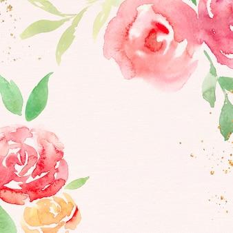 ピンクのバラフレーム背景ベクトル春水彩イラスト 無料ベクター