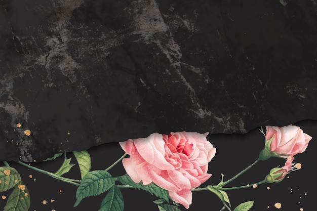 Pink rose frame on a marble textured background vector