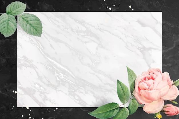 大理石のテクスチャ背景ベクトルのピンクのバラのフレーム