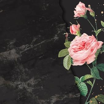 Рамка розовая роза на мраморном текстурированном фоне вектор