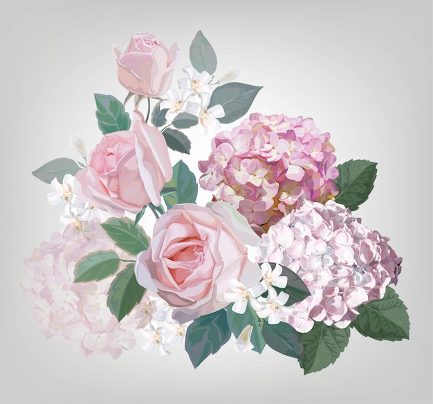Pink rose and hydrangea vector illustration