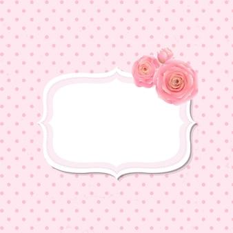 그라디언트 메쉬가있는 핑크 로즈 라벨