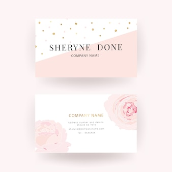 Pink rose luxury business card template