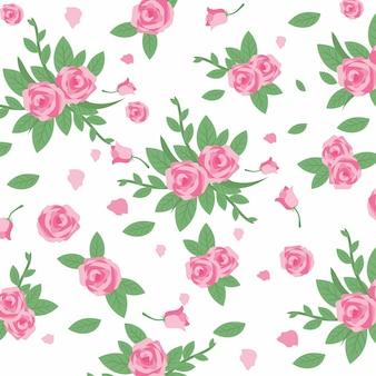 Pink rose pattern vector illustration
