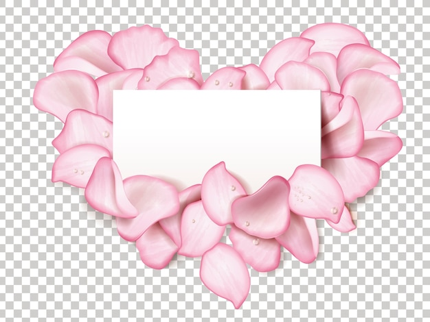 ハート型のピンクのバラの花びら