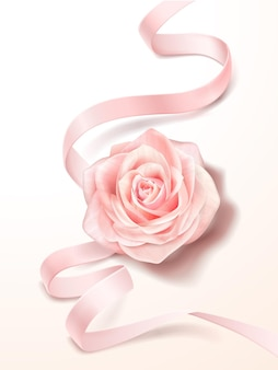 Pink rose and ribbon, romantic decoration for wedding or valentine's day in 3d illustration