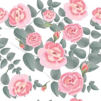 ピンクのバラのシームレスパターン