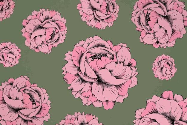 Pink rose vintage pattern background vector