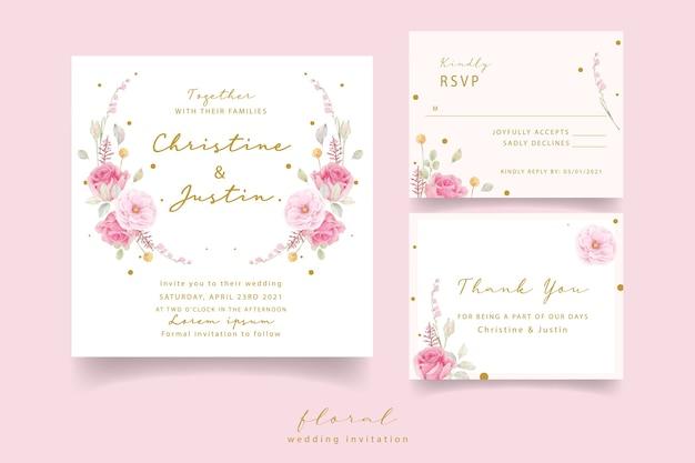 Pink rose watercolor wedding invitation