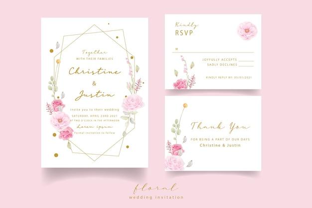 ピンクのバラの水彩結婚式の招待状