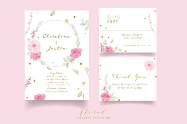 Pink rose watercolor wedding invitation