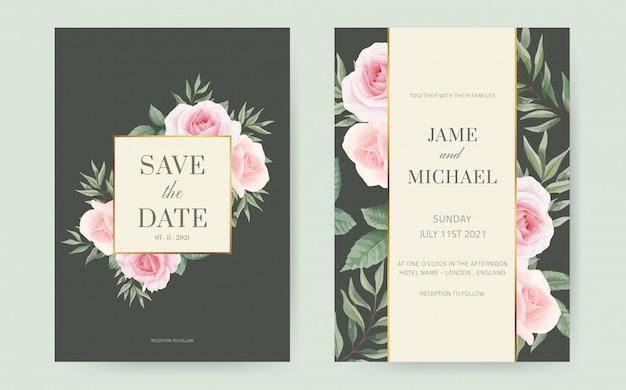 バラの葉と緑のユーカリとピンクのバラの結婚式の招待カードは、緑の背景を残します。セットのウェディングカードテンプレート