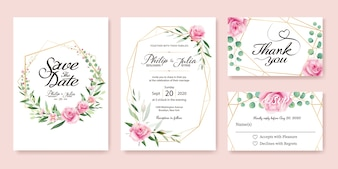 Pink rose wedding Invitation card.
