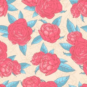 ピンクのバラとターコイズブルーの葉