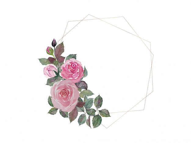 ピンクのバラの花束絵画水彩画をダブルゴールデン六角形ワイヤーフレームイラスト