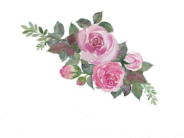 水彩イラストを描く緑の葉とピンクのバラの花束
