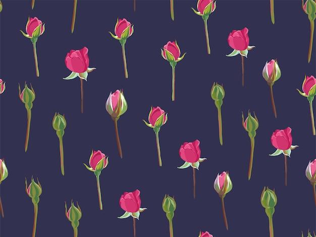 분홍색 장미 꽃봉오리와 가시가 있는 줄기, 배경 또는 파란색으로 인쇄됩니다. 포장지 또는 벽지, 현재 또는 인사말 카트 인쇄. 잎이 있는 봄 식물학. 원활한 패턴, 평면 스타일의 벡터