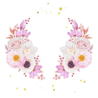 Pink roses  orchid and anemone flowers wreath