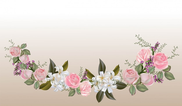 Pink roses and sampaguita jasmine bouquet  vector illustration