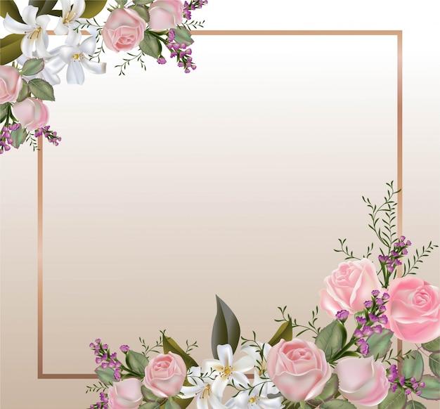 Pink roses and sampaguita jasmine bouquet  vector illustration