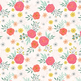 ピンクのバラの夏の庭のシームレスパターン