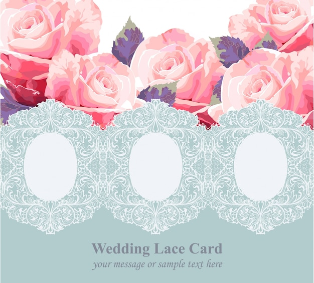 Pink roses on vintage delicate blue lace card