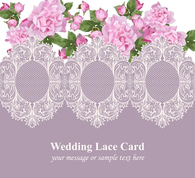 Pink roses on vintage delicate lace card.