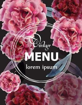 Pink roses watercolor menu card template