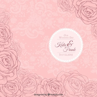 Pink roses wedding invitation