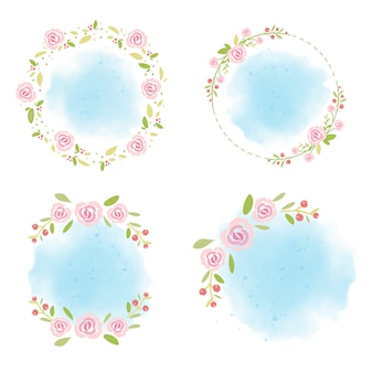 Pink roses wreath on blue watercolor background collection for summer