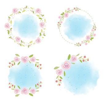 夏の青い水彩画背景コレクションにピンクのバラの花輪 Premiumベクター