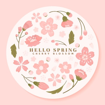 Pink round cherry blossom framed vector