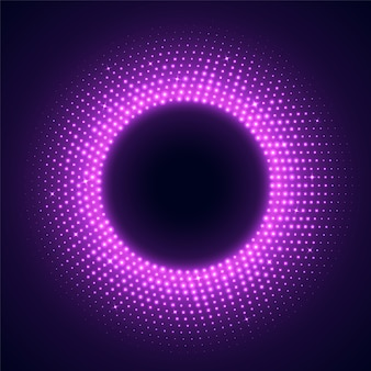 Pink round frame in disco style. bright illuminated circular border isolated on a dark background.